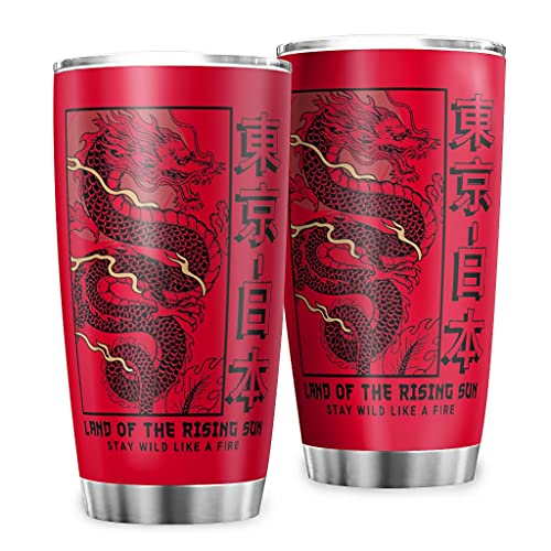 Butterfly Goods Taza de café Tokyo Japan Dragon botella aislada – Retro Classic taza de café con revestimiento de polvo duradero para bebidas heladas red1 600 ml (20 oz)