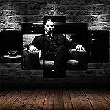13Tdfc Cuadros Decor Salon Modernos 5 Piezas Lienzo Grandes XXL Murales Pared Hogar Pasillo Decor Arte Pared Abstracto Enmarcado En Blanco Y Negro El Padrino Al Pacino HD Impresión Foto Regalo