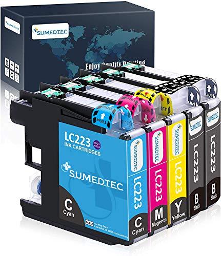 Sumedtec- Pack 5 Cartucho para Brother LC223 Reemplazo de Tinta Alta Capacidad Compatible para Brother DCP-J562DW DCP-J4120DW MFC-J480DW MFC-J4420DW (2 Negro, 1 Cyan, 1 Magenta, 1 Amarillo)
