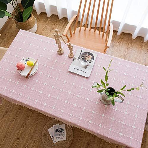 Xiannv Tovaglia Ricamata in Cotone e Lino Ricamata Semplice e Moderna in Stile Giapponese e Vento tavolino tovaglietta tovaglia tovaglia Rosa 100 * 160 cm (tavolino. Tavolino)