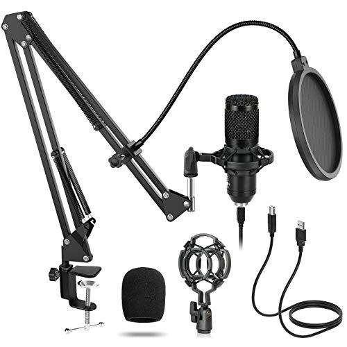 USB Mikrofon Professionelles Kondensator Computer Mikrofone Kit Sucastle mit Mikrofon arm,Mikrofon spinne,Gaming Mikrofon,PC Mikrofon,für Streaming,Podcasts,PC Game,YouTube