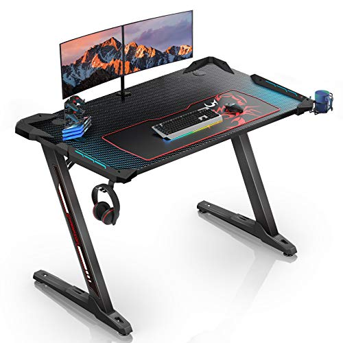 EUREKA ERGONOMIC Z1-S Gaming Desk 43.3' Z Shaped Office PC Computer Gaming Desk Gamer Tables Pro with RGB Lights Controller Stand Cup Holder Headphone Hook Free Mousepad for Men Boyfriend Female Gift