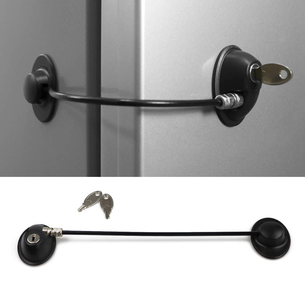 HoneSecur Refrigerator Lock, File Drawer Lock, Fridge Freezer Door Lock, Cabinet Lock, Child Safety for Baby with 2 Keys - Black