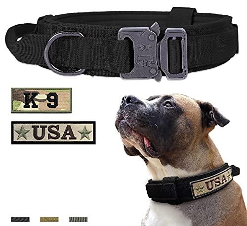 Amai Keto Tactical Dog Collar Nylon Adjustable Military Training Collar with Handle and Heavy Duty Metal Buckle K9 Dog Collar for Medium/Large/XLarge Dogs