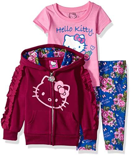 Hello Kitty Baby Girls' 3 Piece Hooded Legging Set, Burgundy, 24 Months