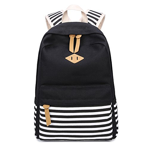 Abshoo Causal Canvas Stripe Backpack Cute Lightweight Teen Backpacks For Girls School Bookbag (Black)