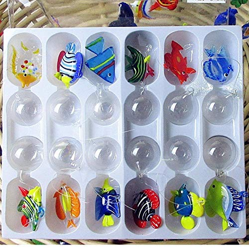 Amoyer Floatglas -Aquarium Landschaft Mini Hand Geblasenem Glas Figurine Aquarium Ornament Tierfiguren Dekorationen