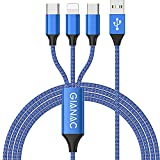 3 en 1 Multi Cable de Carga, [1.2M] Multi USB Cargador Cable Nylon Múltiples Micro USB Tipo C para Android Samsung Galaxy S9/ S8/ S7/ A5, Huawei P20, Honor, Kindle, LG, Son-Blue