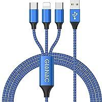 🍀 【3IN1 Universal Ladekabel】Multi USB kabel Kann dir das leben leichter machen. Ein Multi Ladekabel kann Ihre drei unterschiedlichen Anforderungen erfüllen - ein Multifunktions Ladekabel mit iP, Micro USB, USB Typ C Verbindung. Sie müssen keine ander...
