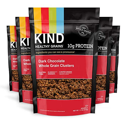 KIND Healthy Grains Clusters, Dark Chocolate Granola, Gluten Free, 10g Protein, 11 Ounce (Pack of 6)