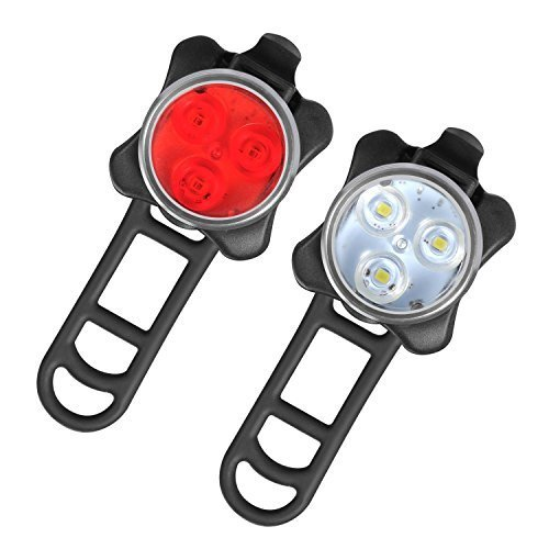 Rheme Rechargeable LED Bike Lights Set Headlight Taillight Combinations LED Bicycle Light Set 2 USB Cables,4 Light Modes Water Resistant, IPX4