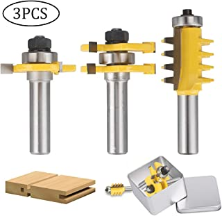 Router Bit Set Tongue Groove 1/2 Inch Shank with Reversible Finger Joint Router Bit Woodworking Chisel Cutter Milling Cutter Easy Operation for Doors, Tables, Shelves, Walls, DIY Woodwork 3PCS