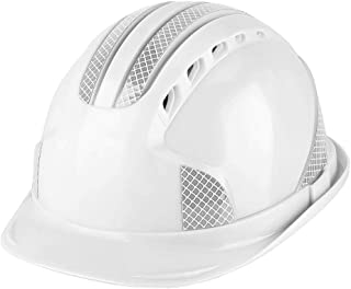 Tosuny Hard Hat, Safety Helmet Hard Hat Impact Resistant Helmet with Super Strong Reflective Strip and Head Venting Hole Worker Construction Site Protective Cap (White)