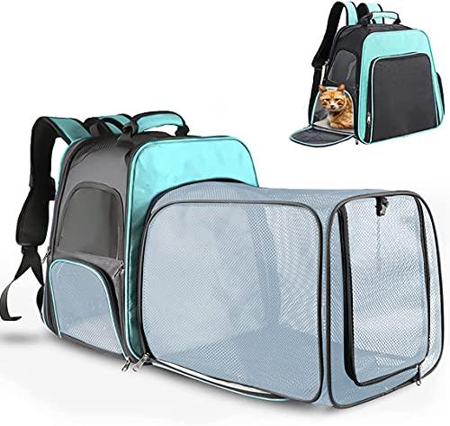 TOUZUTY Haustier Rucksäcke für Hunde Katzen Katzenrucksack mit großer Raum Fenstertausch Matte Sicherheitsschloss und Front Opening Tragetasche Erweiterbar Faltbar Atmungsaktiv