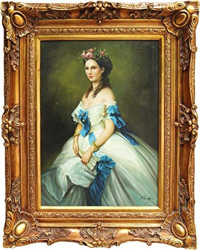 Casa Padrino Barock Öl Gemälde Damen Porträt Gold Prunk Rahmen 101 x H. 80 cm - Barockmöbel Kaiserin Sissi Sisi