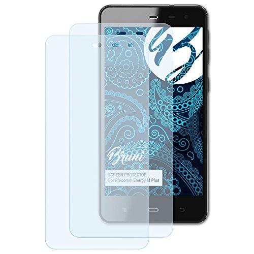 Bruni Schutzfolie kompatibel mit Phicomm Energy M Plus Folie, glasklare Displayschutzfolie (2X)