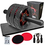 Ab Roller for Abs Workout, 6-in-1 Ab Wheel Roller Kit with Knee Pad, Core Sliders Gliding Discs,...
