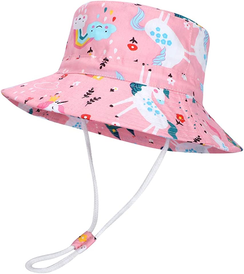 Baby Toddler Sun Hat Kids Summer Protection Bucket Hats Wide Brim with Adjustable Head Drawstring and Chin Strap
