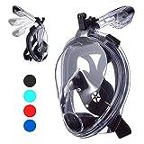 VELLAA Maschera Subacquea, Maschera da Snorkeling Easybreath Anti-Appannamento 180° Visibile Design Pieno Facciale e Compatibile con Videocamere Sportive per Adulti Bambini