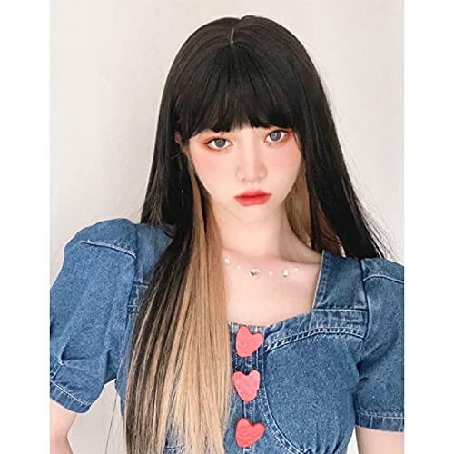 Zzalo Wig Peluca Femenina Cabello Largo Natural Estilo de Cabeza Completo Neto Red Lolita Dyeing Gradient Colgando Oreja Tinta Cubierta Larga de Peluca de Pelo Recto (Incluido el Pelo) Lolitao