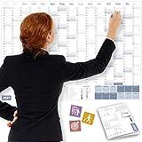Calendario da parete 2021 OFFICE, DIN A1+ (89x63 cm)   PIEGATO   228 Adesivi per...