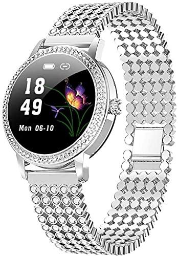 Reloj inteligente para mujer LW20 Ronda impermeable pantalla táctil con monitor de ritmo cardíaco Función recordatorio fisiológico femenino Pulsera deportiva de moda plateado diamante redondo