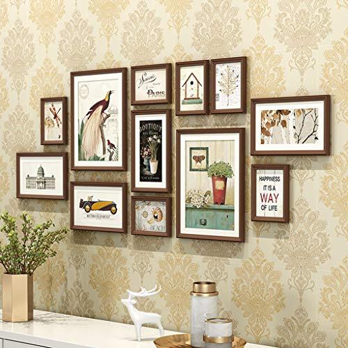 NYDZDM Combinaison de mur de mur de photo de mur, mur décoratif de salon Cadre de photo en bois massif suspendu (Color : B)