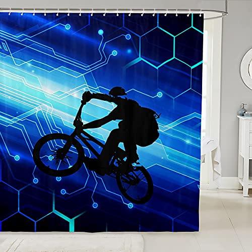Cortina de ducha para bici de la suciedad, para niños, diseño geométrico de nido de abeja hexagonal, impermeable para bañeras decorativas, azul 72 pulgadas de ancho x 72 pulgadas de largo