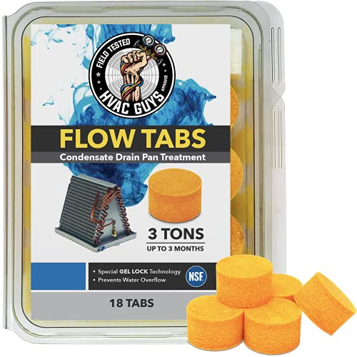 HVAC Guys: Flow Tabs with Gel Lock Technology - 18 Pack - Keeps Drain Pans Clean - Prevents Overflow - 3 Ton Tab Lasts up to 3 Months - 1Tab is equal to 18Regular Tablets (324 total) - Made in the USA