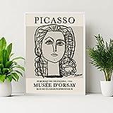 lienzos decorativosArte de pared de líneas abstractas de Picasso Poster de paloma con cara de mujer famosa exposición pinturas en lienzo impresiones Decoracion de Cuadros Retro60x90cm x1 Sin Marco