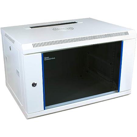 600 x 450 x 500mm 9 HE Serverschrank Wandgeh/äuse mit Glast/ür Wei/ß, BxTxH