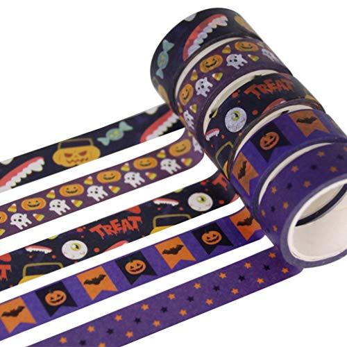 Toyvian 5 rollos washi tape halloween cinta decorativa cinta adhesiva para diy scrapbooking craft halloween gift wrapping party decoration