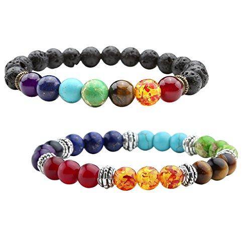 JSDDE Schmuck 2er Chakra Armband Set Partnerarmbänder Zen-Buddhismus Armreif aus Heilsteine Edelstein Freundschaftsarmband Paar Armbänder Glücksbringer Perlenarmband