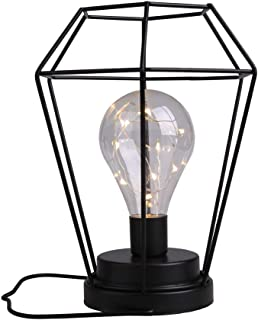 Diamond Metal Cage Table Lamp Battery Powered,Cordless Lamp With LED Edsion Style Bulb for Weddings,Parties,Patio,Events for Indoors/Outdoors and More (Hanging Hook Included)