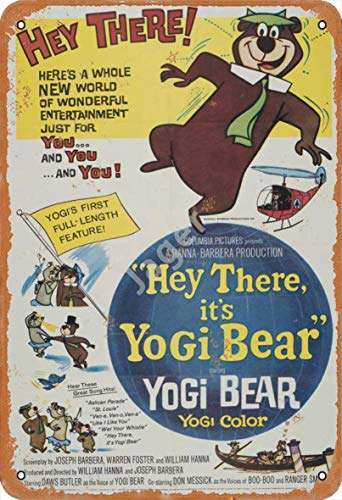 JSBFR Hey There, It's Yogi Bear Retro Metal Decor Wall Plaque Vintage Tin Sign for House Cafe Club Home Or BarMetal Tin Sign Blechschild 20x30cm A590
