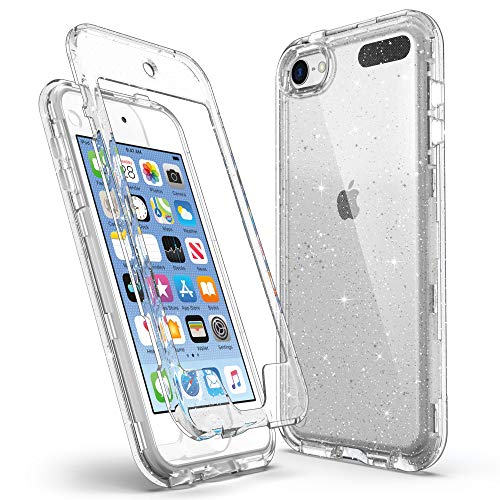 ULAK Case for iPod Touch 7th/6th/5th Generation with Front Cover Hybrid Rugged Shockproof AntiScratch Bumper Cover Hard Shell for iPod Touch 7/6/5 Glitter