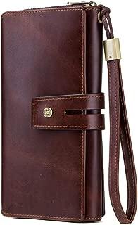 Men's Wallet tri-fold Clutch Bag Long Wallet Retro Zipper Wallet Casual Multi-Function Wallet Candys house (Color : Coffee, Size : 21 * 10 * 4cm)