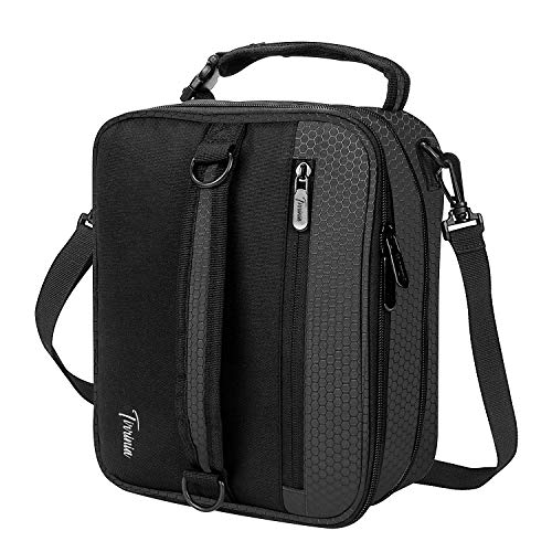 Expandable Insulated Lunch Bag, Leakproof Flat Lunch Cooler Tote with Shoulder Strap for Men and Women, Suitable for Work & Office by Tirrinia, Black