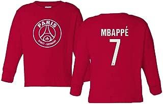Spark Apparel Paris Soccer Shirt #7 MBAPPE Little Kids Girls Boys Toddler Long Sleeve T-Shirt