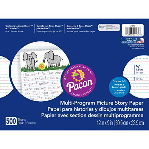 Pacon Multi-Program Picture Story Paper, 12'X9', D'Nealian (1, 2 & 3) and Zaner-Bloser (2&3), 500 Sheets