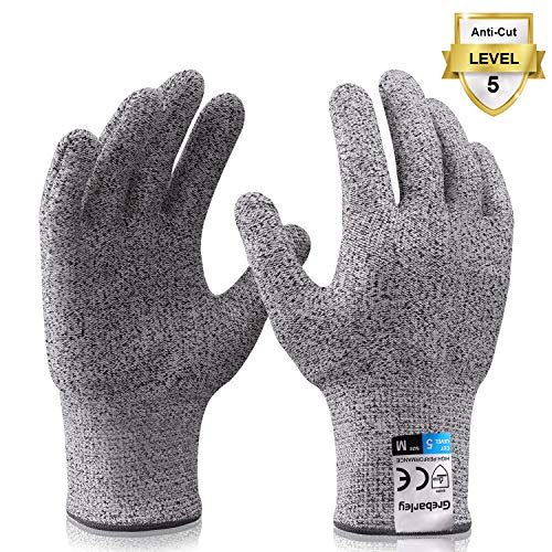 Grebarley Schnittschutzhandschuhe,Arbeitshandschuhe,Küchen Handschuhe,Level 5 Schutz,Lebensmittelecht,EN388 Zertifiziert,Gestrickt Handschuhe für Gartenbau/Baustelle/Küche,Grau 1Paar (M)