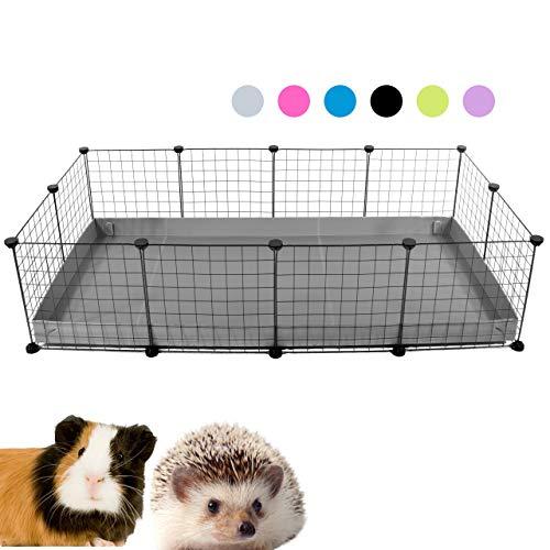 Kavee C&C Metallgitter Käfig für Kleintiere, erweiterbar, DIY, mit Bodenplatten, Freigehege, Laufstall für Haustiere, Meerschweinchen, Igel, Schildkröte 4x20