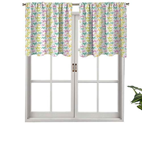 Hiiiman Cenefas de cortina con bolsillo para barra, siluetas de animales de clima tropical, ilustración subacuática, juego de 1, 127 x 45 cm para ventana de cocina