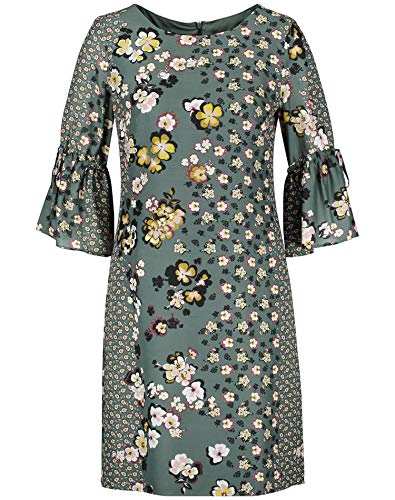Taifun Damen Kleid mit Blumenmuster figurumspielend, figurbetont Evergreen Druck 36