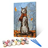 Ginkko Paint by Numbers for Adults Kids Beginners with Wooden Frame Easy Acrylic on Canvas 9x12 inch with Paints and Brushes, Scarf Cat(Include Framed)