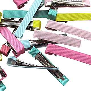 Chenkou Craft Assorted 40pcs Prong Hair Clips Hair Pin Covered Grosgrain Ribbon DIY Hair Jewelry Craft 2