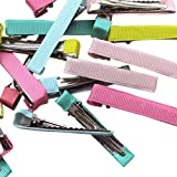 Chenkou Craft Assorted 40pcs Prong Hair Clips Hair Pin Covered Grosgrain Ribbon DIY Hair Jewelry Craft 2'...