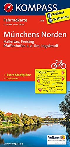 KOMPASS Fahrradkarte Münchens Norden, Hallertau, Freising, Pfaffenhofen a. d. Ilm, Ingolstadt: Fahrradkarte. GPS-genau. 1:70000 (KOMPASS-Fahrradkarten Deutschland, Band 3114)