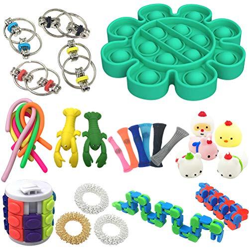 BSTiltion 29pz Juguetes Sensoriales para el Autismo ADHD, Kit de Juguetes Antiestrés, Antiestres Juguetes para Aliviar el Estrés para Niños y Adultos, Pop It Fidget Toy Cadena Flippy Malla de mármol