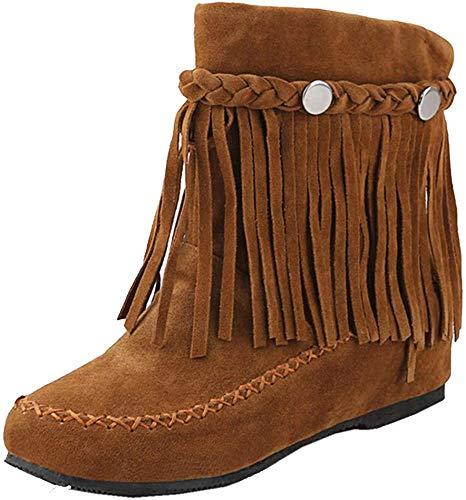 RAZAMAZA Moda Zapatos de Mujer de Alta Botas con Flecos Plano (37 EU,Brown)
